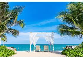 清新唯美海岸沙滩椅子