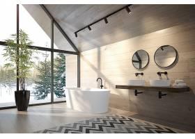 北欧风时尚简洁房顶阁楼式浴室设计