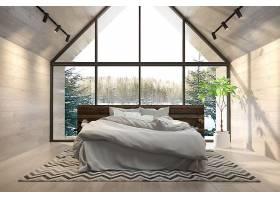北欧风时尚简洁房顶阁楼式卧室设计