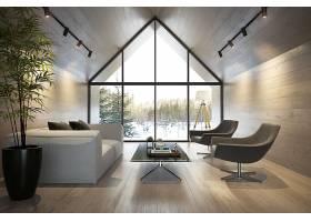 北欧风时尚简洁房顶阁楼式客厅设计