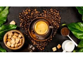 心形可可豆与咖啡