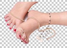 穿戴各类首饰饰品的女性足部脚趾