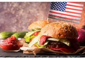 美味的蔬菜肉食夹心汉堡包