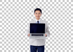 男性拿着笔记本电脑