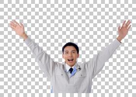 举起双手欢呼的工作服日本男子