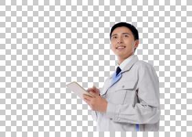 拿着平板电脑的工作服日本男子