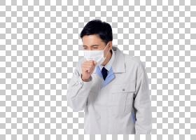 戴口罩咳嗽的工作服日本男子