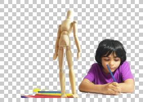 对着木偶画人体结构的黑发外国小男孩