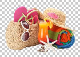 热带沙滩旅行物品组合