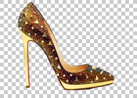 金色带刺的高跟鞋
