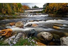 地球,河,桥梁,运动,污迹,水,岩石,Ammonoosuc,河,新建,汉普郡,壁图片