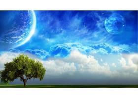 地球,A,轻柔的,世界,树,天空,行星,幻想,壁纸,图片