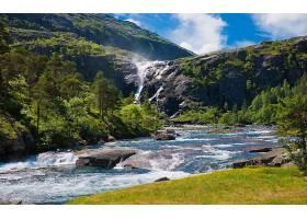 地球,溪流,瀑布,山,夏天,云,壁纸,图片