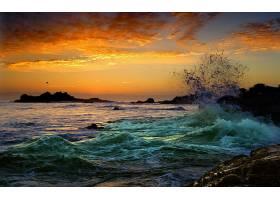 地球,海景画,自然,日落,海洋,岩石,波浪,壁纸,图片