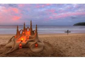 地球,海滩,沙堡,夏天,海洋,冲浪,沙,壁纸,图片