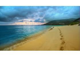 地球,海滩,海岸,脚印,风景,海,云,海景画,壁纸,
