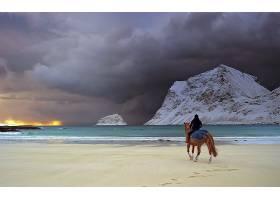 地球,海滩,海洋,海,云,日落,山,男人,马,壁纸,图片