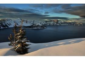 地球,湖,湖,水,雪,冬天的,风景,树,壁纸,图片