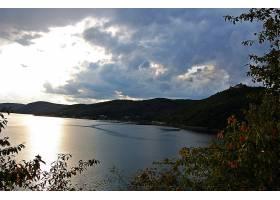 地球,湖,湖,云,夏天,晚上,小山,壁纸,图片