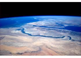 地球,从,空间,埃及,尼罗河,撒哈拉沙漠,非洲,西奈半岛,半岛,地中
