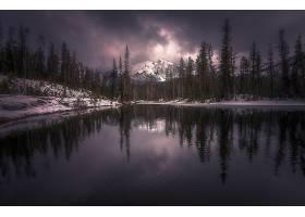 地球,反射,自然,森林,冬天的,雪,山,湖,壁纸,图片
