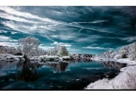 地球,反射,艺术的,天空,水,冬天的,壁纸,