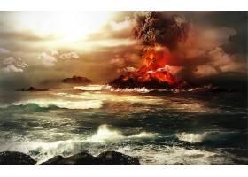 地球,火山,火山,烟,爆炸,水,海洋,艺术的,风景,云,壁纸,