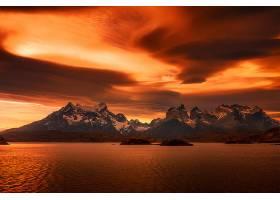 地球,山,山脉,巴塔哥尼亚,智利,自然,日落,橙色的,风景,云,壁纸,图片