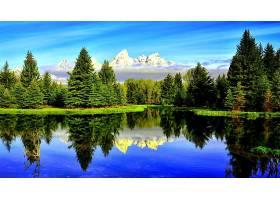 地球,湖,湖,蓝色,绿色的,山,反射,壁纸,图片