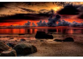 地球,日落,海,天空,云,反射,壁纸,图片