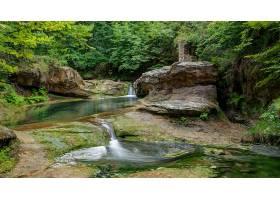 地球,瀑布,瀑布,森林,岩石,溪流,自然,壁纸,图片
