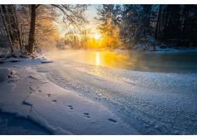 地球,河,雪,日出,冬天的,自然,脚印,壁纸,