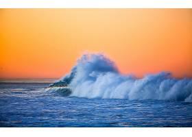 地球,波浪,海洋,日落,壁纸,图片