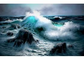地球,波浪,海洋,海,岩石,艺术的,壁纸,图片
