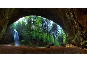 地球,瀑布,瀑布,岩石,树,洞穴,拱门,自然,森林,壁纸,图片