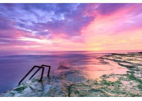 地球,日落,海洋,海,岩石,天空,粉红色,地平线,壁纸,(1)图片
