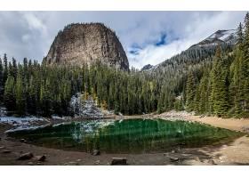 地球,湖,湖,自然,森林,冬天的,岩石,壁纸,图片