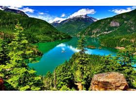地球,风景,湖,山,绿色的,树,森林,壁纸,图片