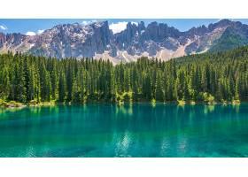 地球,湖,Karersee,湖,山,湖,自然,森林,壁纸,图片