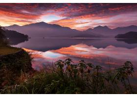 地球,反射,台湾,湖,自然,日落,山,天空,云,风景,壁纸,图片