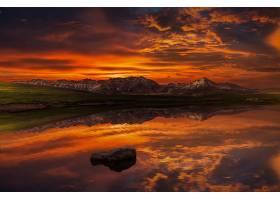 地球,反射,自然,日落,山,天空,湖,风景,壁纸,图片