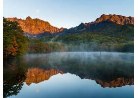 地球,反射,雾,自然,森林,湖,山,壁纸,图片