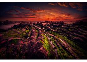 地球,海景画,自然,岩石,地平线,海洋,日落,橙色的,壁纸,图片