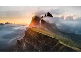 地球,山,山脉,日落,雾,自然,日出,阳光,山峰,壁纸,图片
