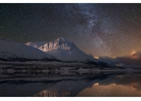 地球,山,山脉,自然,夜晚,冬天的,湖,反射,风景,明星,布满星星的,图片