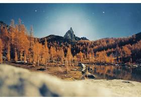 地球,秋天,湖,树,山,山峰,反射,明星,自然,森林,壁纸,图片