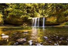 地球,瀑布,瀑布,美国,俄勒冈州,森林,石头,树,快活的,自然,壁纸,图片