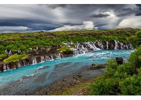 地球,瀑布,瀑布,自然,河,风景,云,暴风雨,Hraunfossar,壁纸,图片