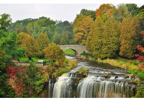 地球,瀑布,瀑布,秋天,叶子,树,桥梁,壁纸,图片