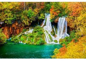 地球,瀑布,瀑布,秋天,叶子,树,森林,壁纸,图片